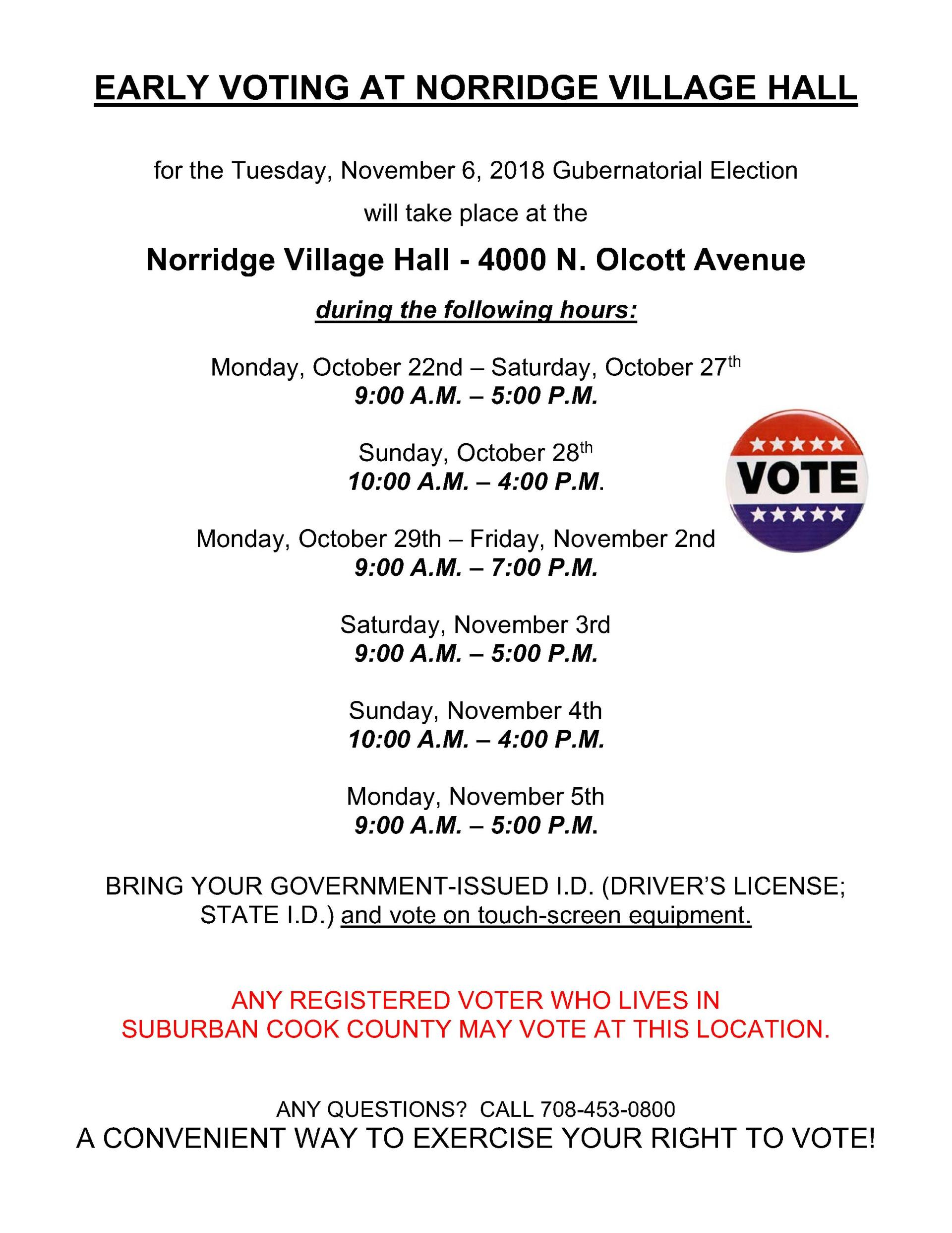 Early Voting November 2018 Election