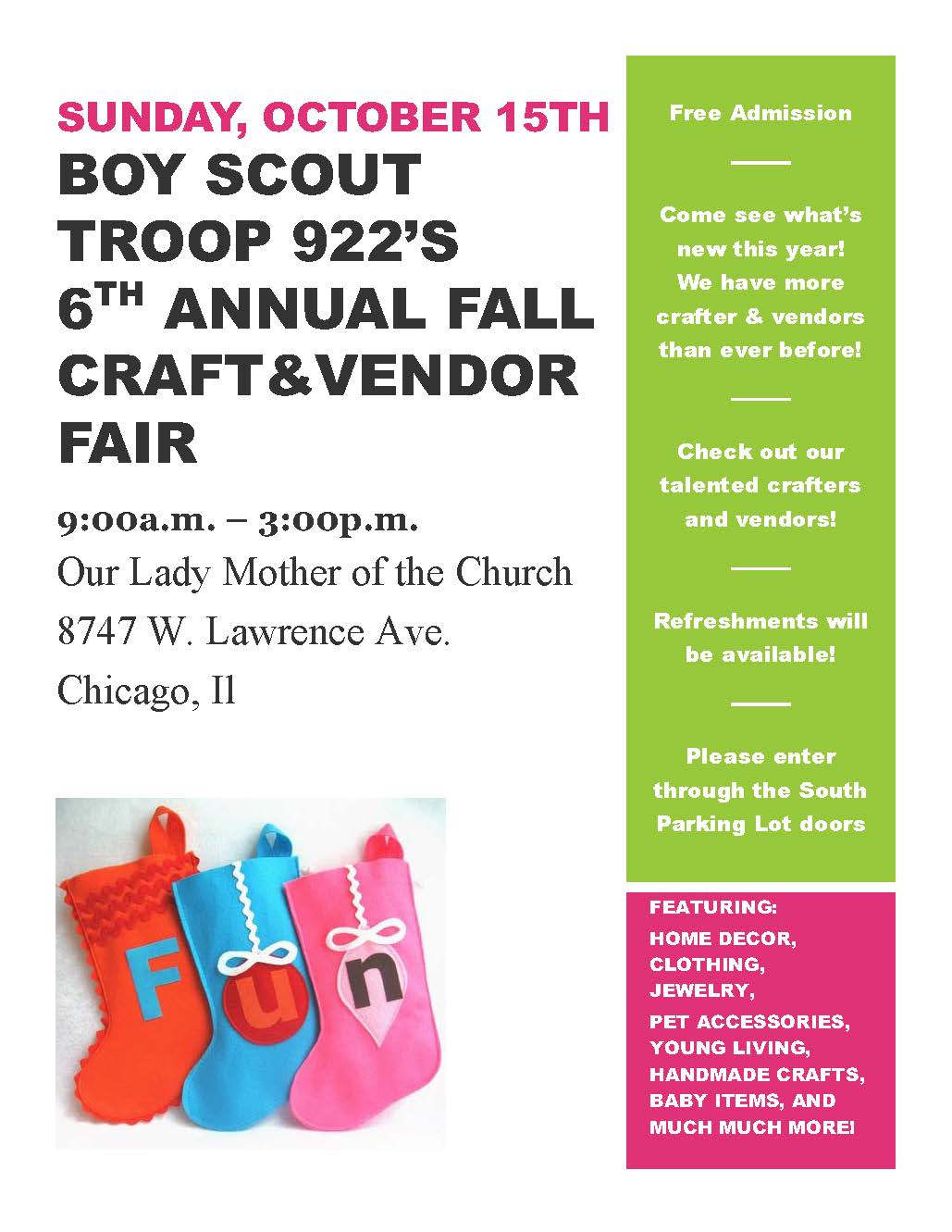 2017 Boy Scout Craft Fair Flyer