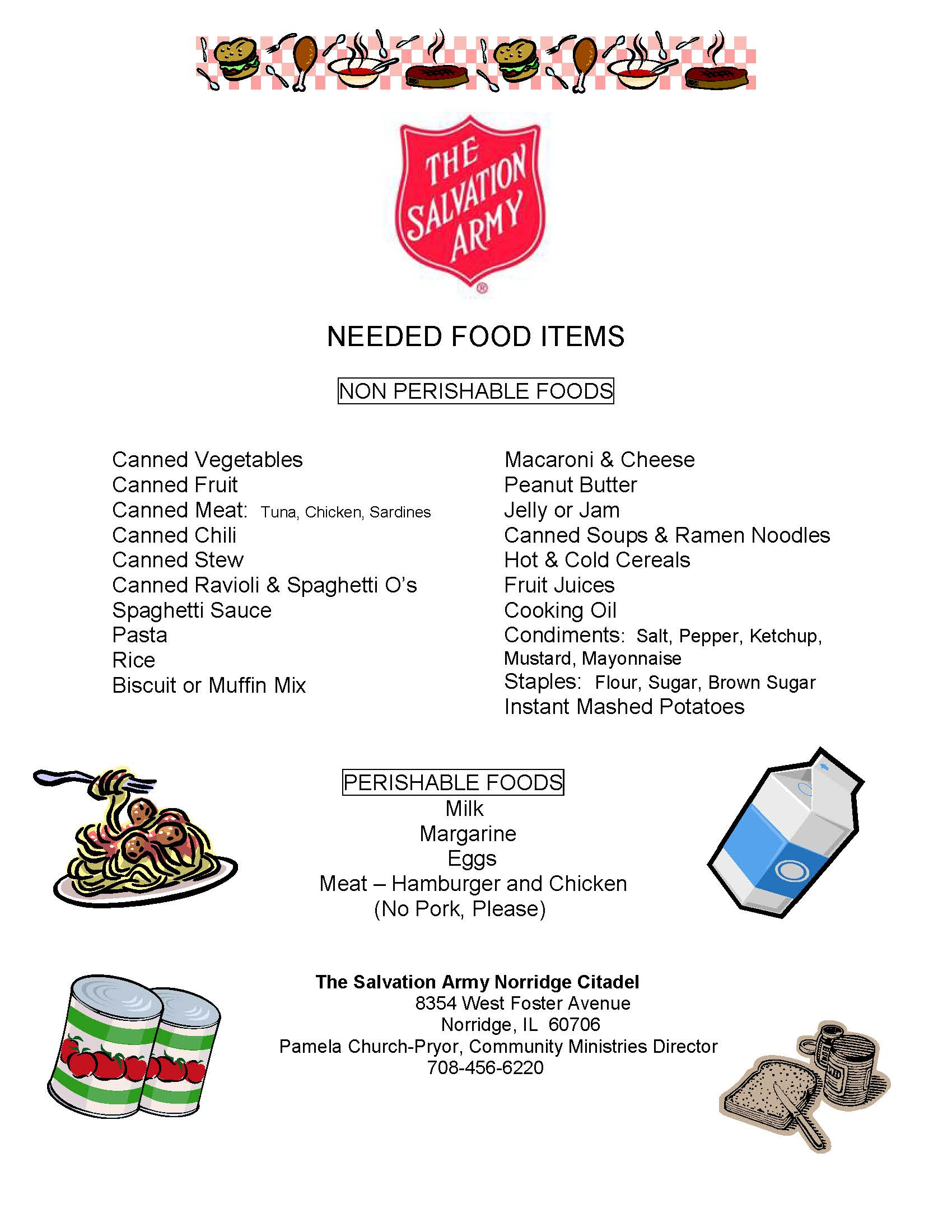 20171110 Food Needed List